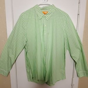 Green & White Checked Long-Sleeve Blouse